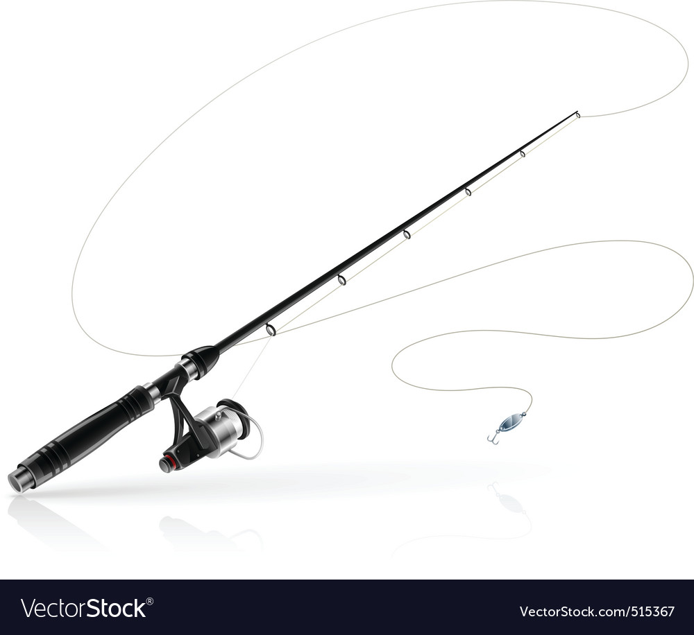 Rod spinning with spoonbait vector image