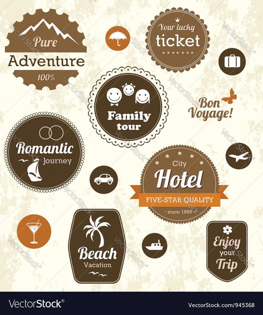 Retro travel labels Vector Image
