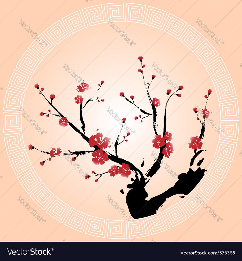Oriental plum blossom vector image