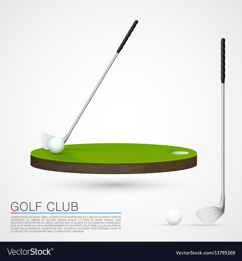 Golf club and ball in grass vector image
