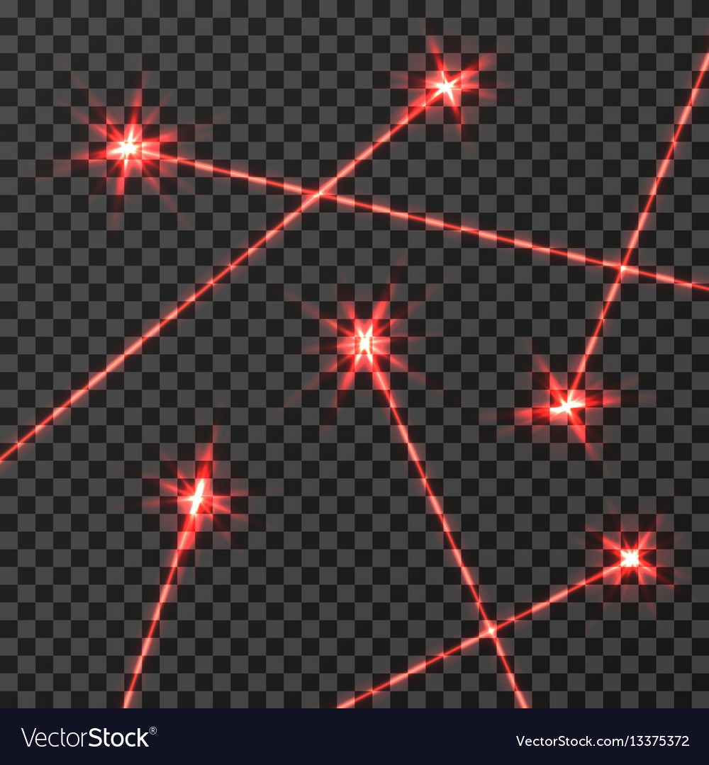 Red laser beams light effect isolated on vector image