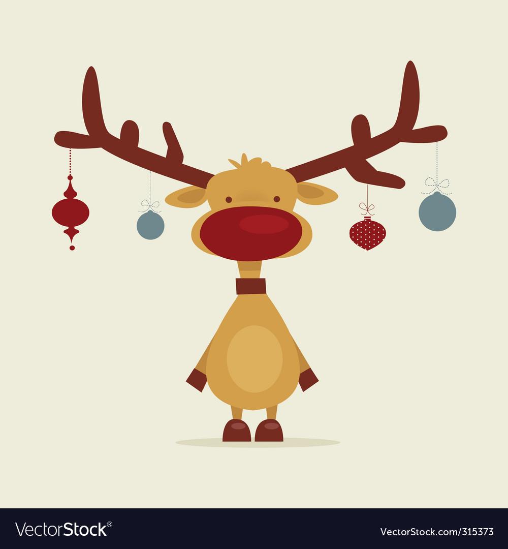 Retro reindeer vector image