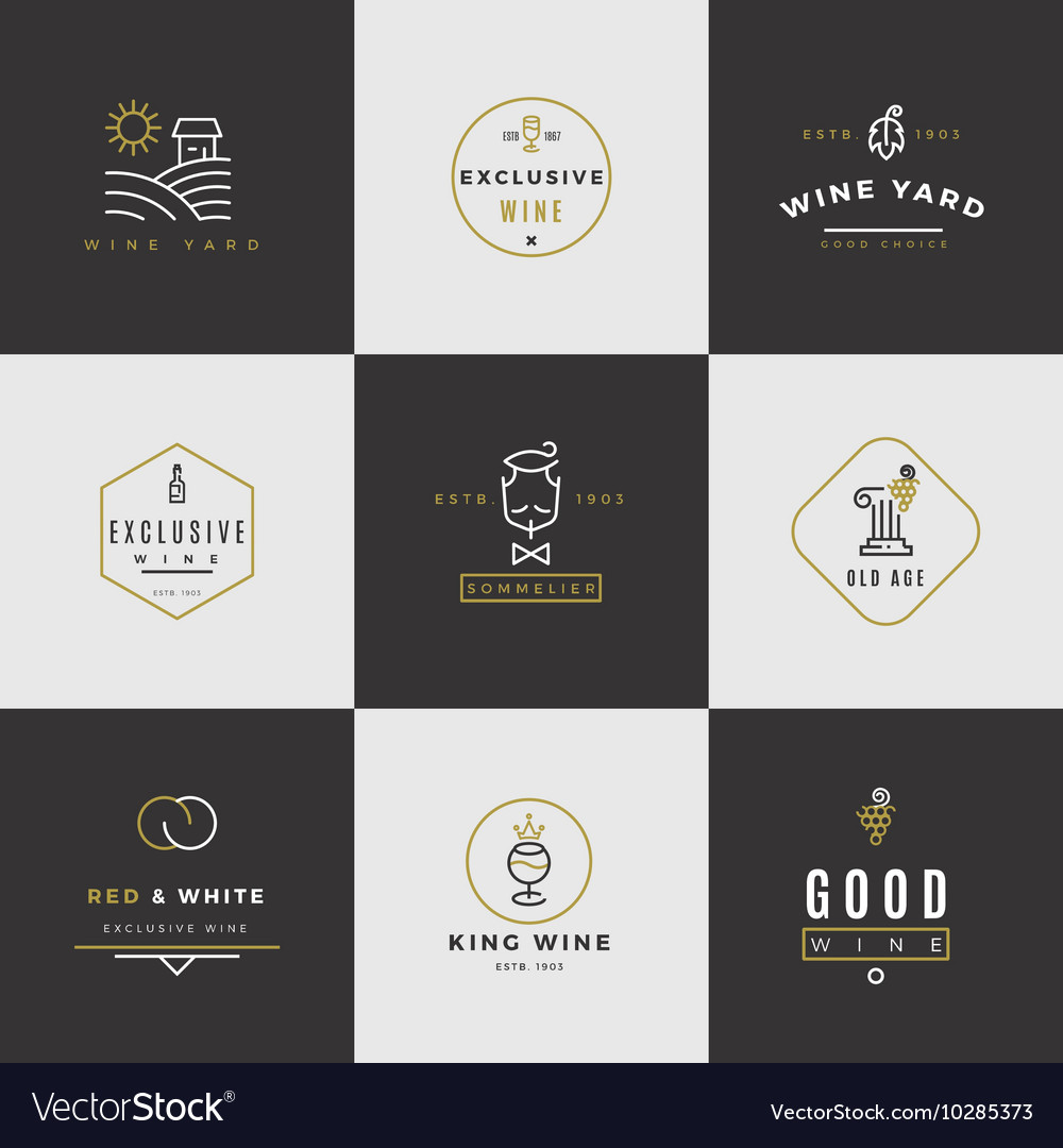 Wine card logo set vector image