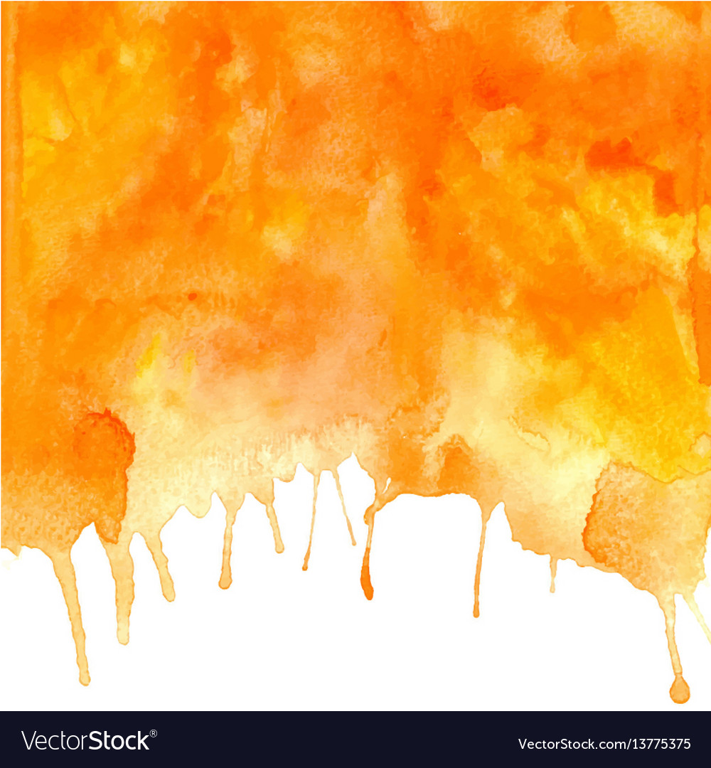Orange abstract hand drawn watercolor vector image