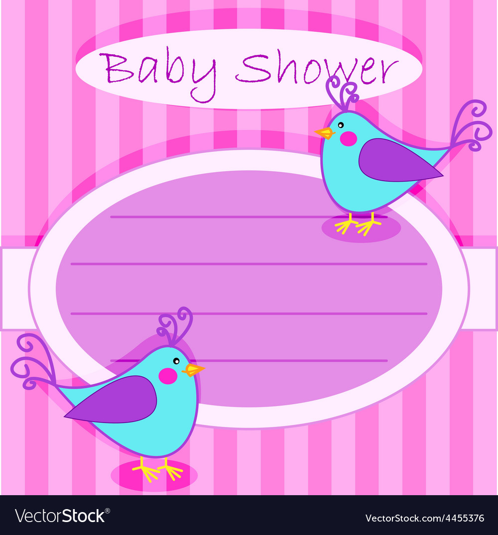Bird baby shower invitation-girl Royalty Free Vector Image