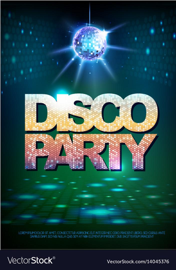 Disco ball background disco poster vector image