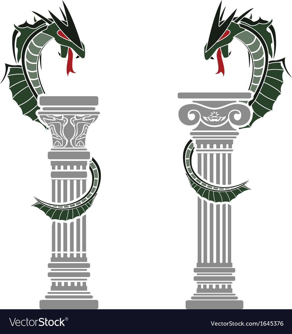 Dragons and columns vector image