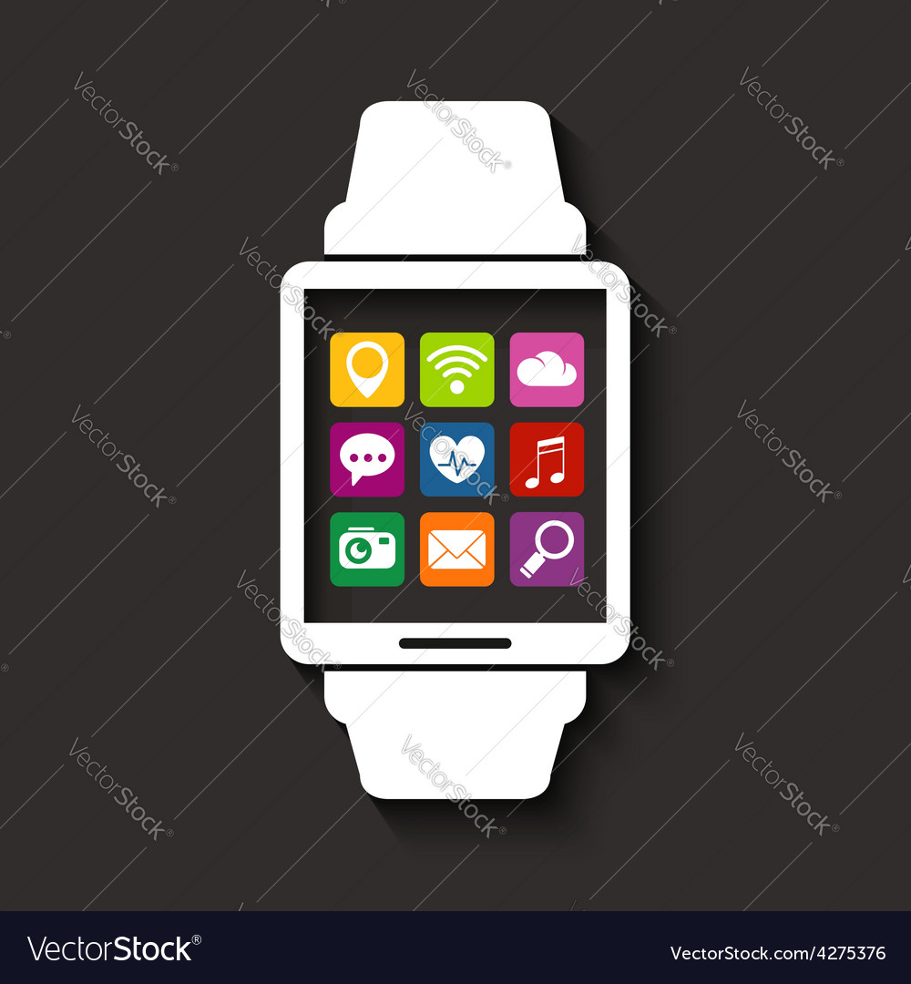 Wearables technology device with apps icons vector image