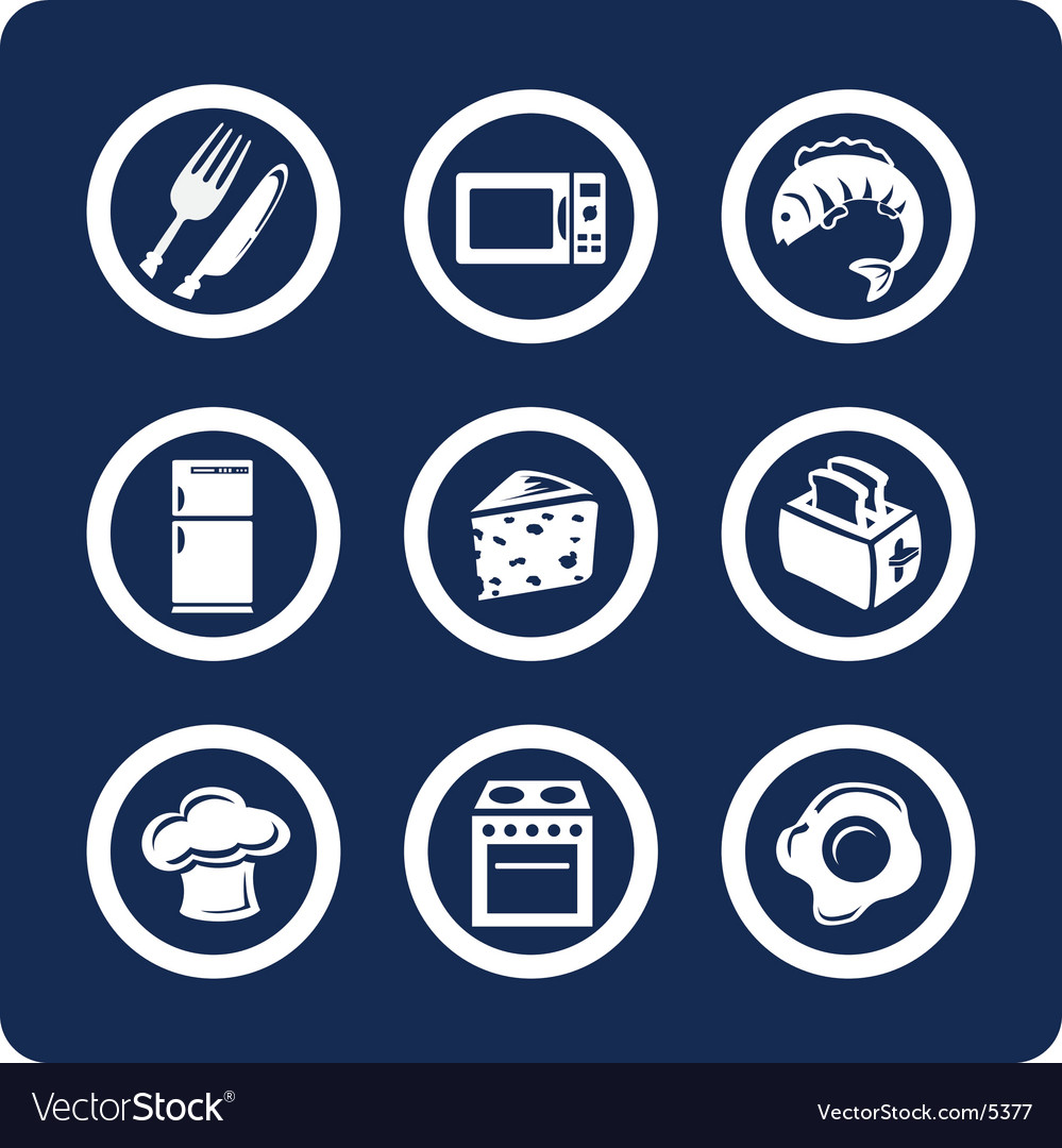 Food and kitchen icons vector image