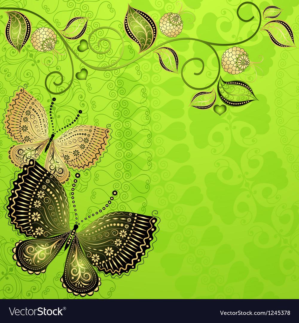 Green spring floral frame vector image