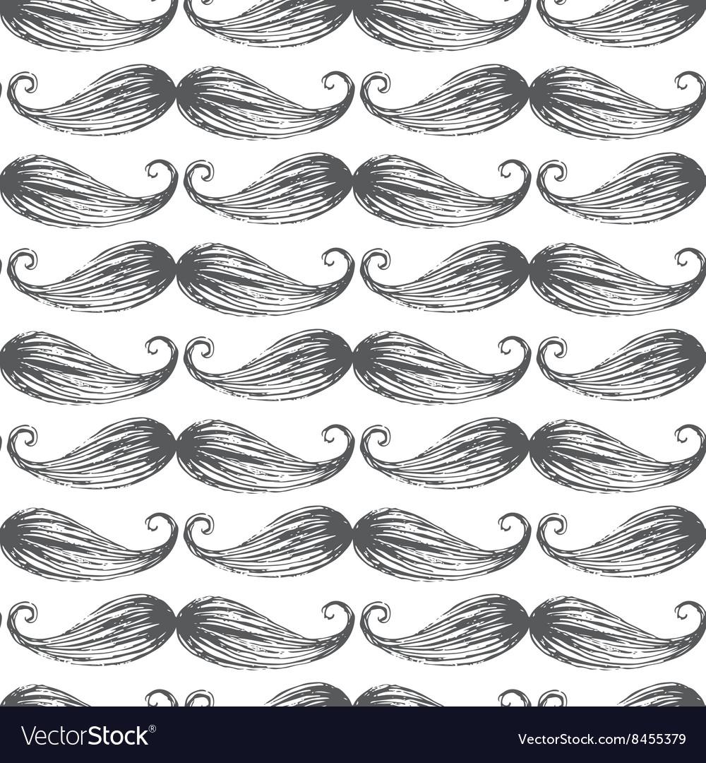 Mustache seamless pattern vector image
