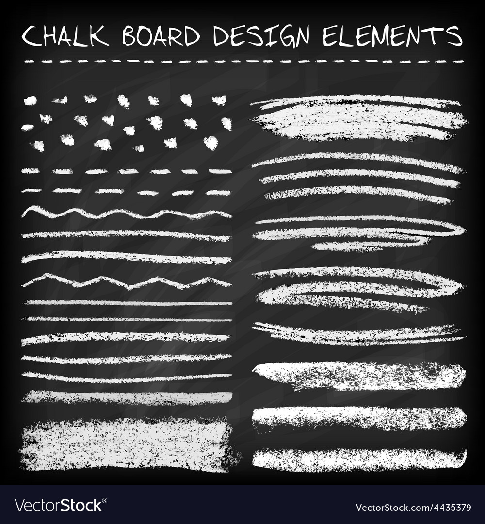 Set of chalk strokes vector image
