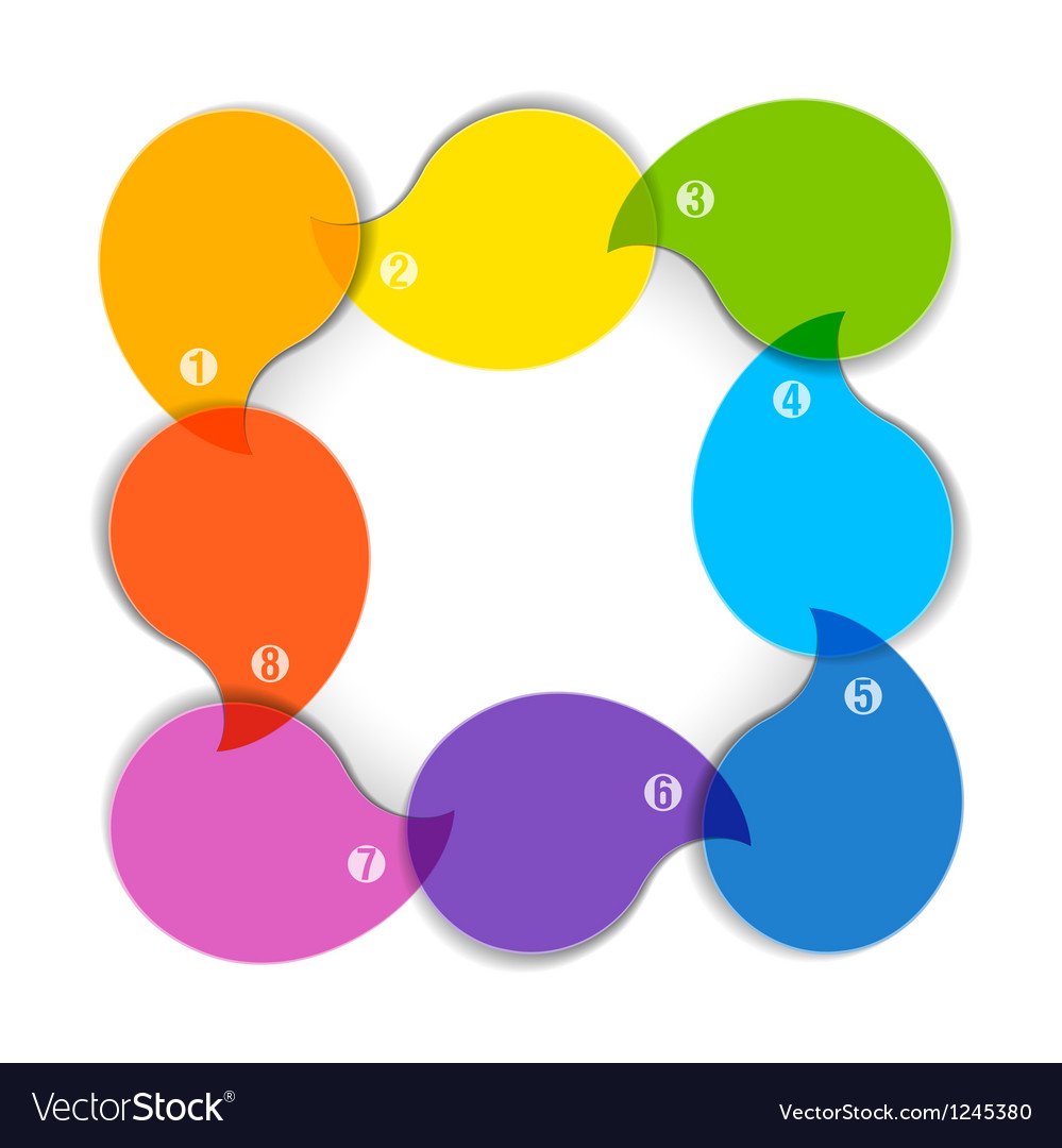 Colorful diagram with eight blank boxes vector image