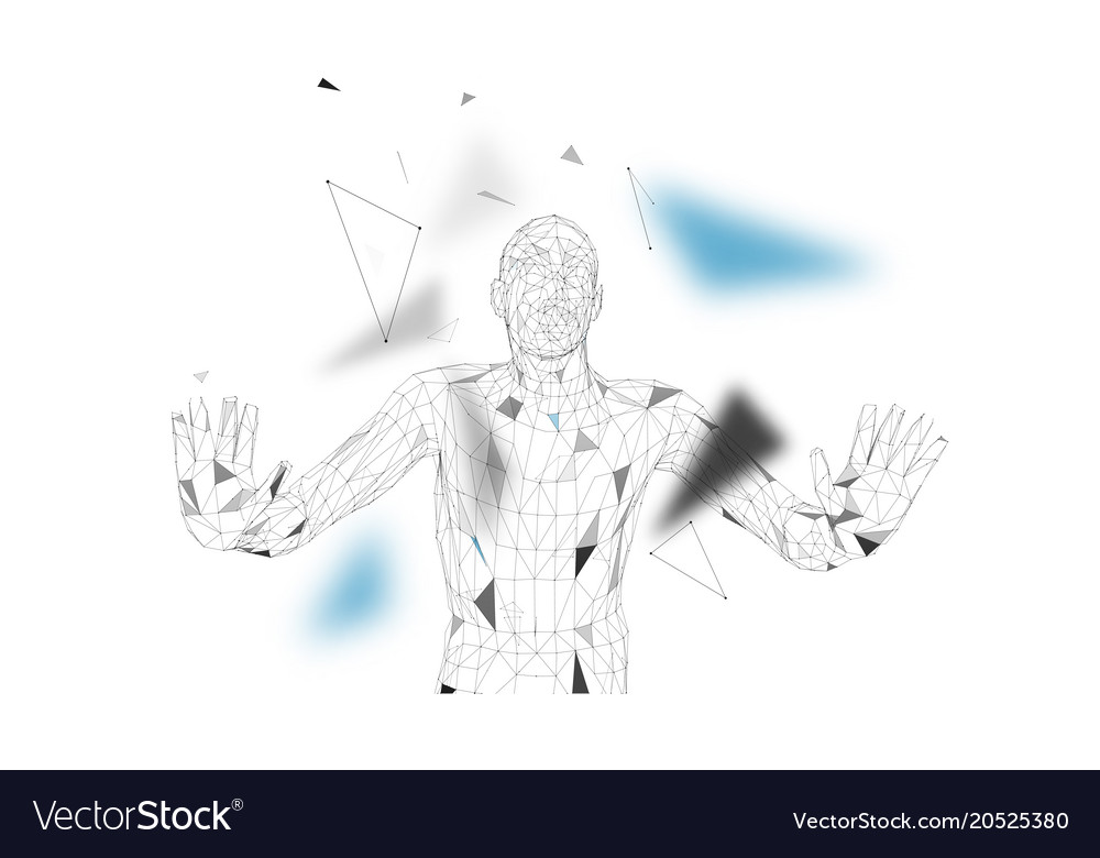 Drawing With Lines And Dots : Conceptual abstract man connected lines dots vector image