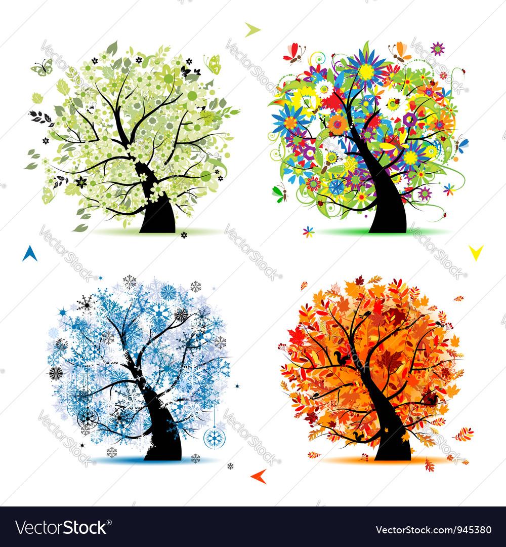 Four seasons tree - spring summer autumn winter vector image