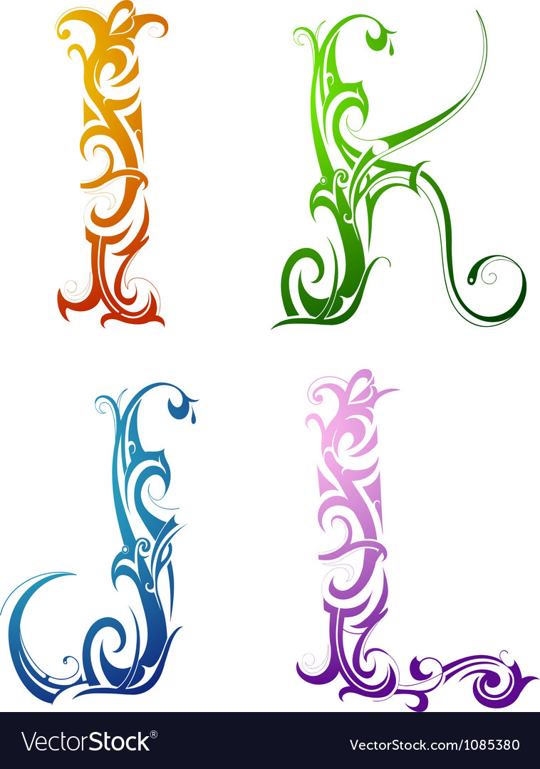 Tribal tattoo letters vector image