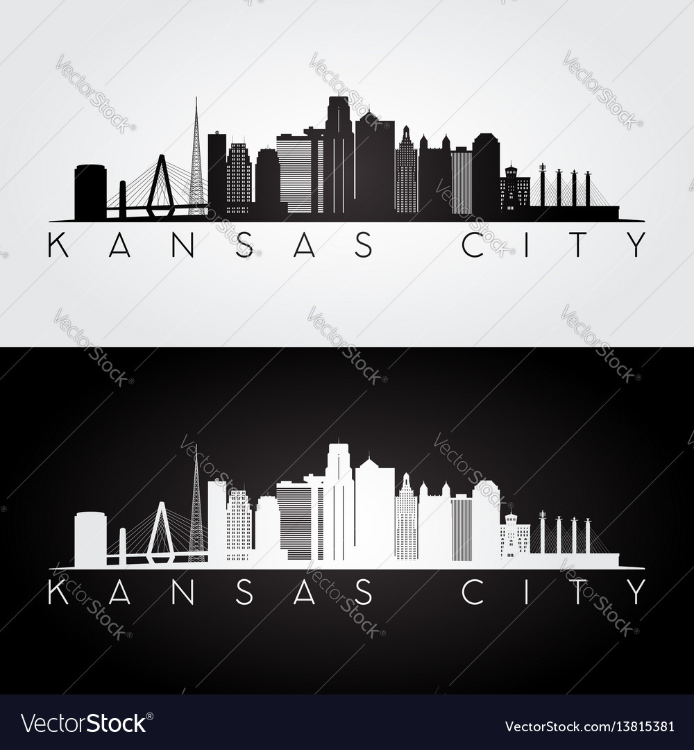 Kansas city usa skyline and landmarks silhouette vector image