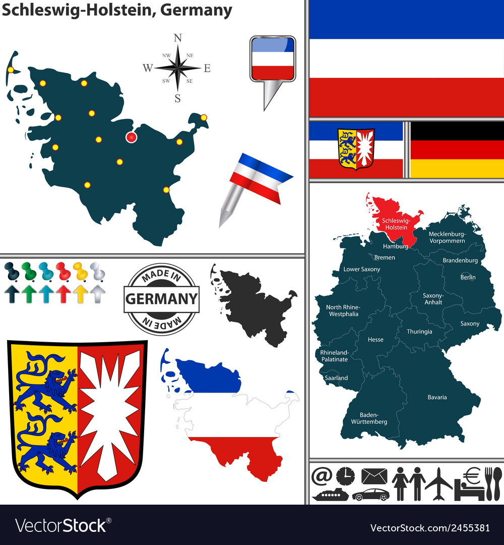 Map of Schleswig Holstein Royalty Free Vector Image