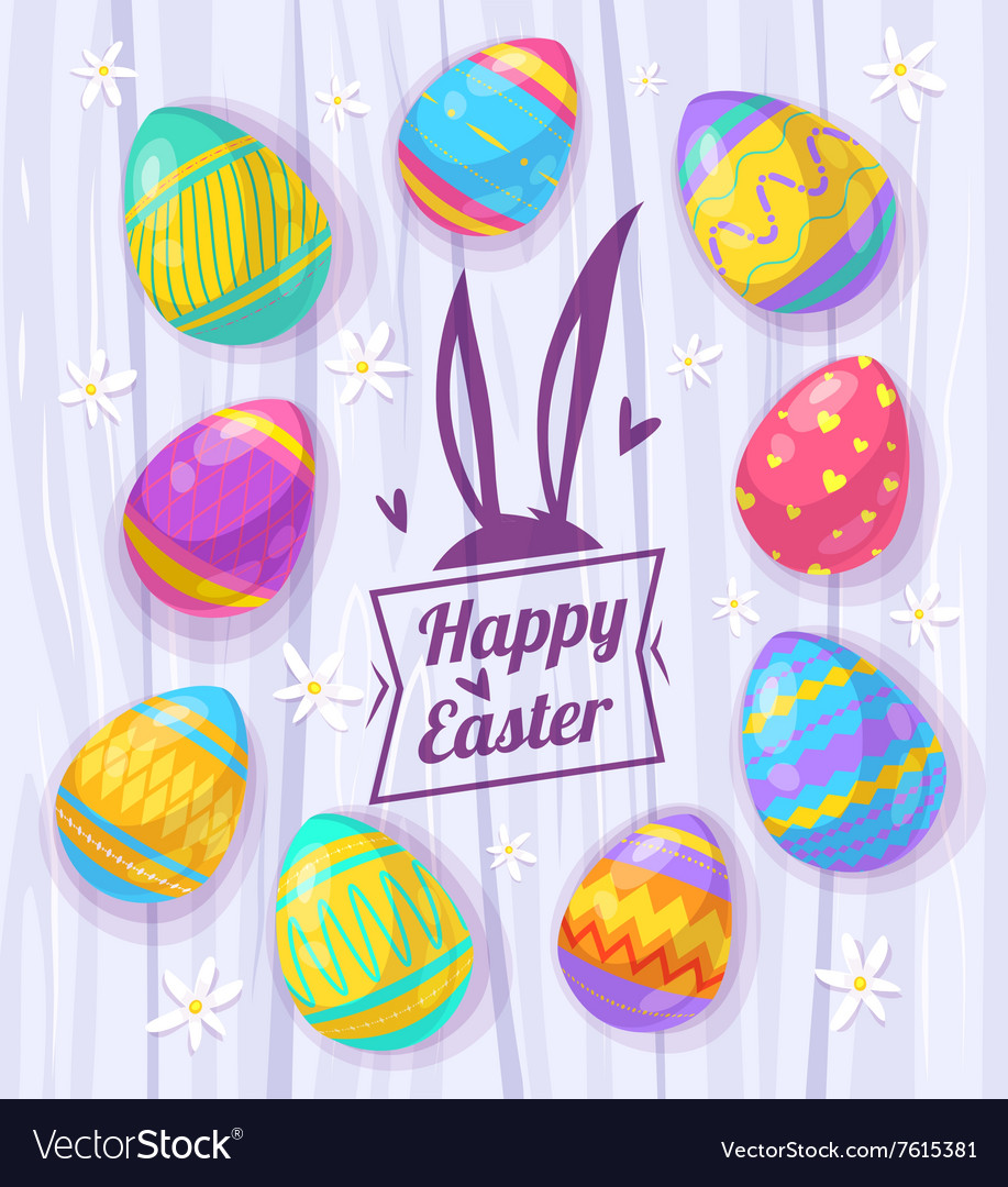 Set of Easter eggs cute vector image