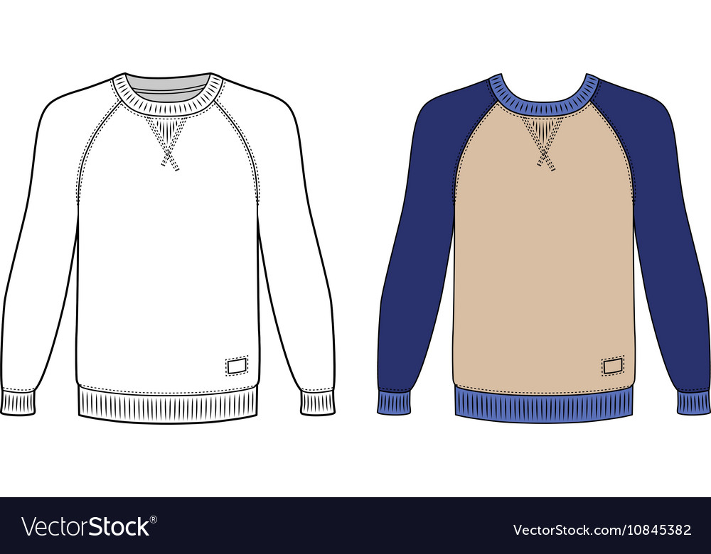 raglan long sleeve t shirt outlined template vector image. Black Bedroom Furniture Sets. Home Design Ideas