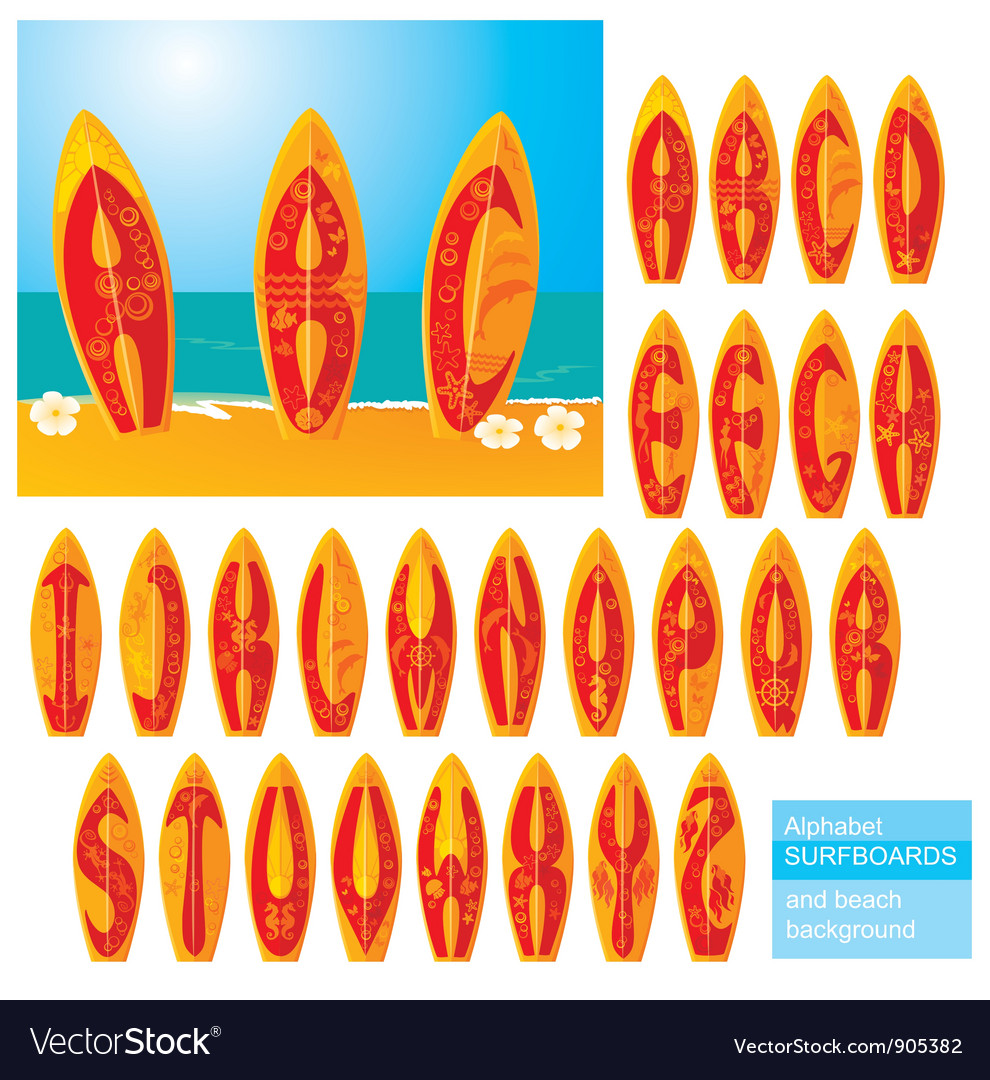 ABC - alphabet - surf boards vector image