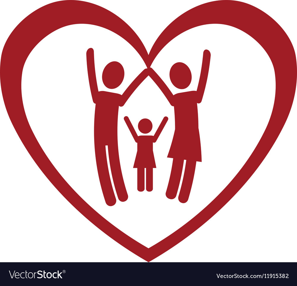 Happy family members silhouette vector image