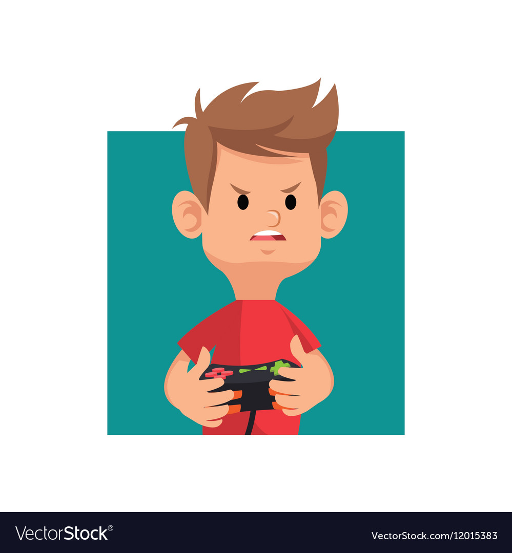 Cartoon boy playing video game with controller vector image