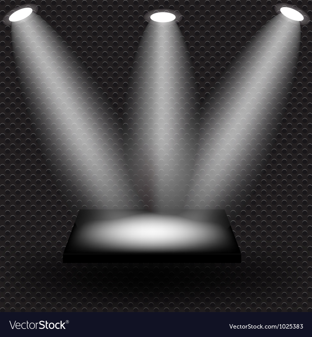 Empty black shelve on metal background with lights vector image
