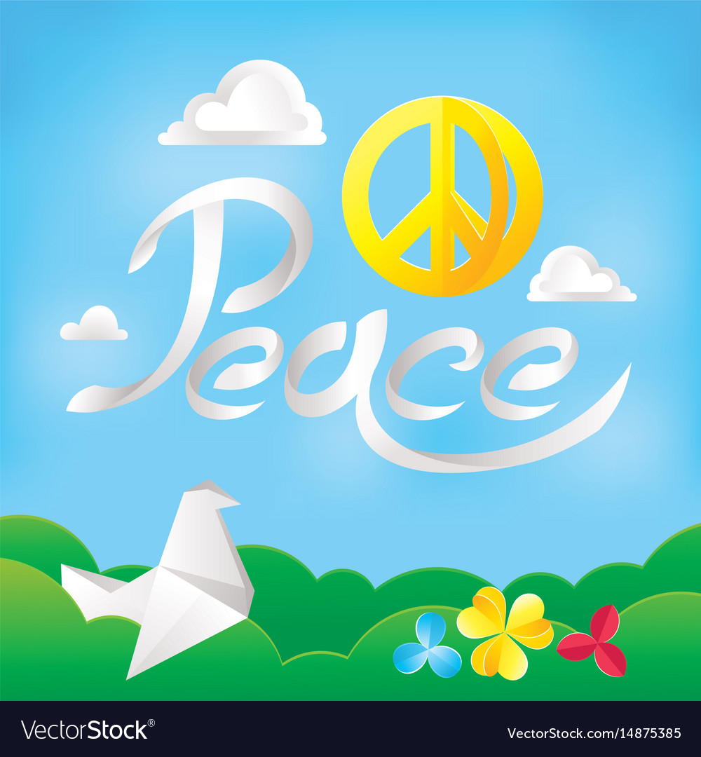 Hippie peace symbol on a nature background vector image