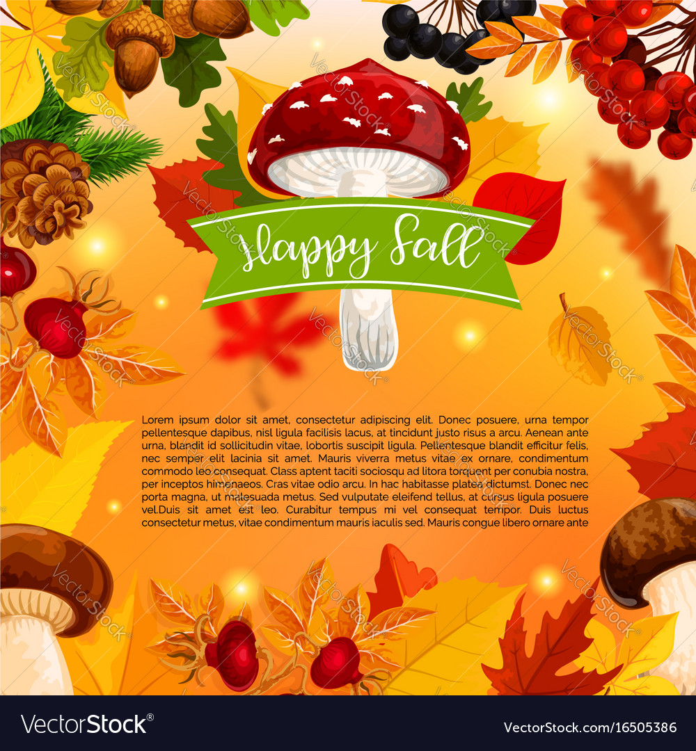 Autumn happy fall mushroom and leaf poster vector image