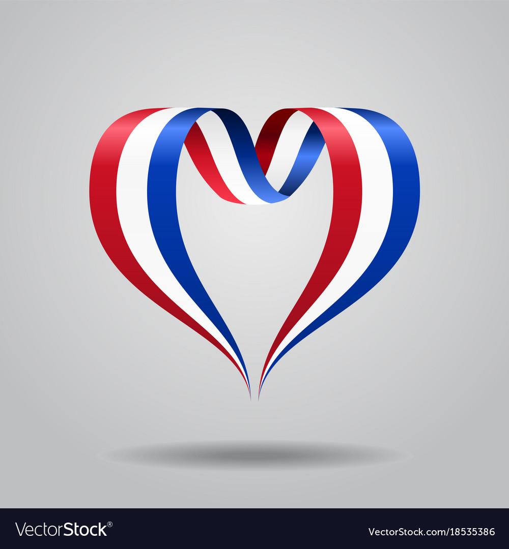 Dutch flag heart-shaped ribbon vector image