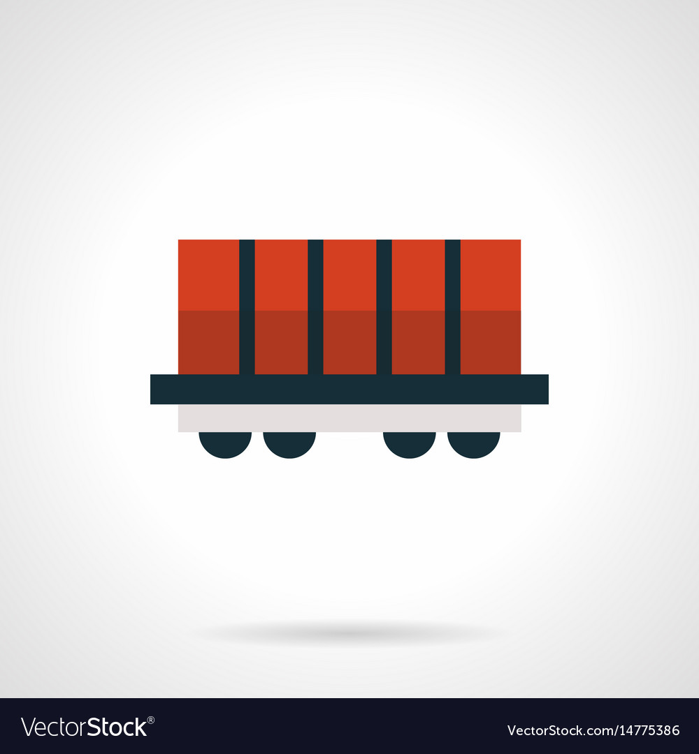 Red rail car platform flat red icon vector image
