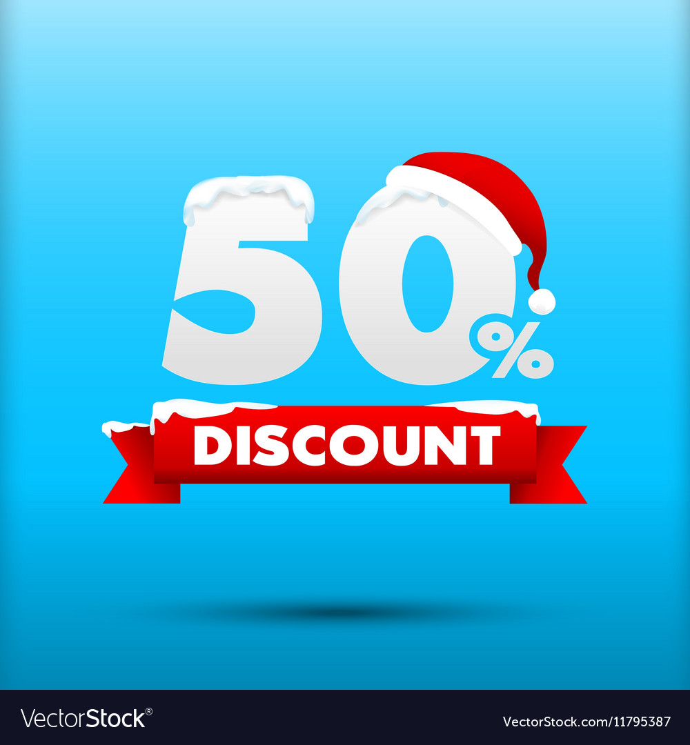 027 Merry Christmas sale 50 percent web tag banner vector image