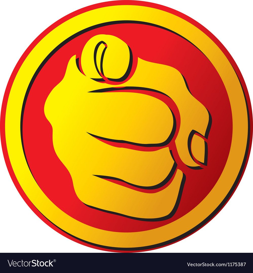 Hand pointing button vector image