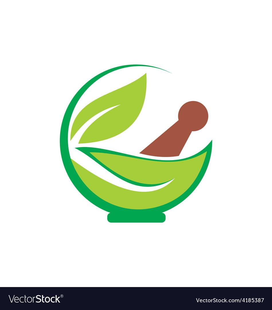 Eco herbal traditional medicine logo vector image