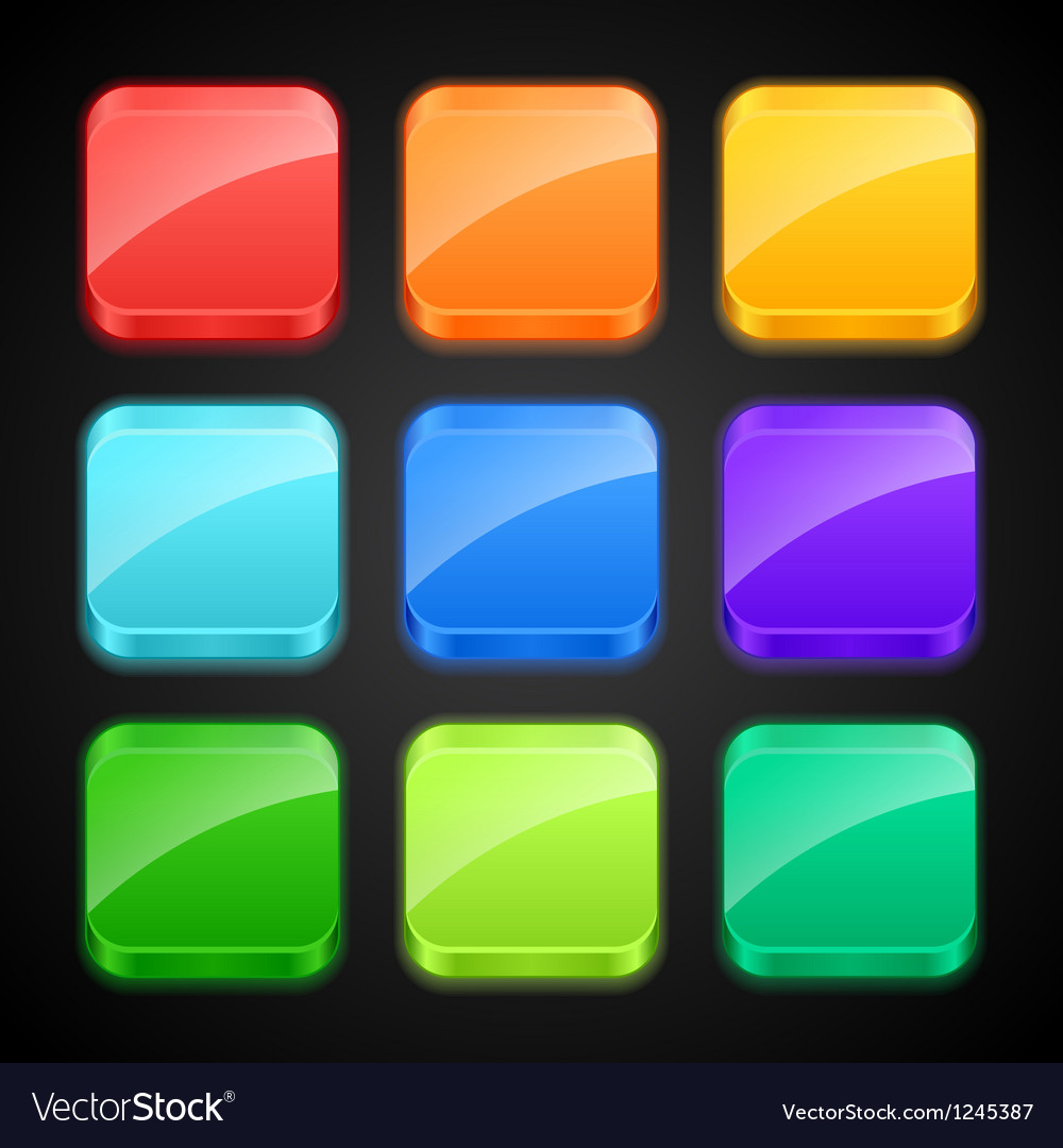 Set of luminous color apps icons vector image
