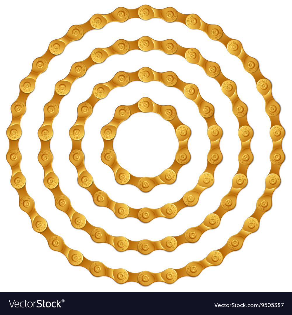 Set of round frames made of golden metal bicycle vector image