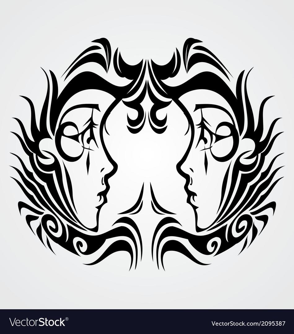 tribal gemini royalty free vector image vectorstock