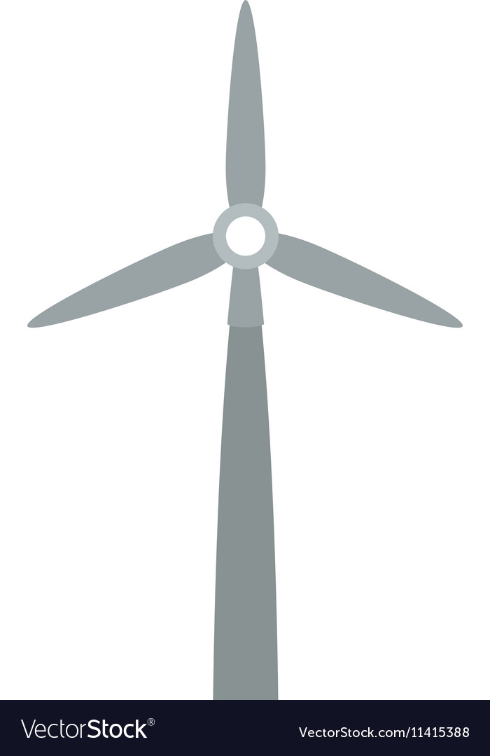 Gray silhouette wind power generator vector image