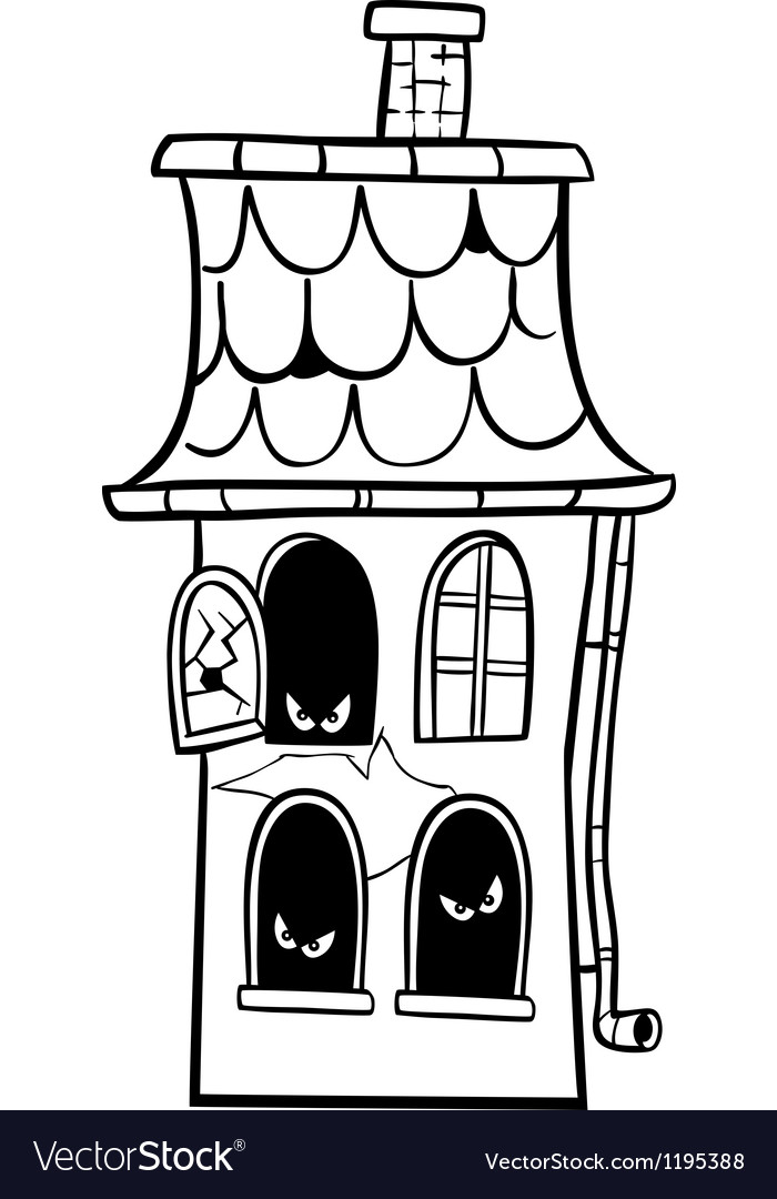 Haunted house cartoon for coloring royalty free vector image - Cartoon haunted house pics ...