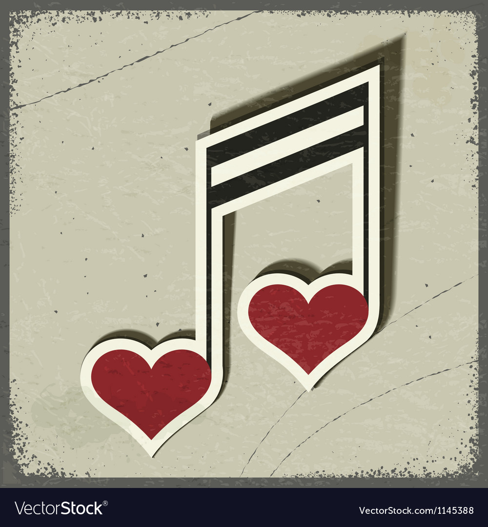 Vintage postcard with musical sign vector image