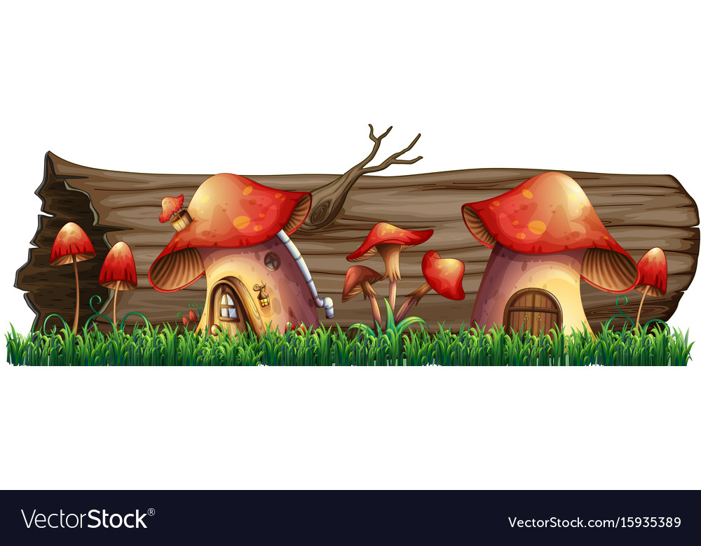 Mushroom houses by the log vector image