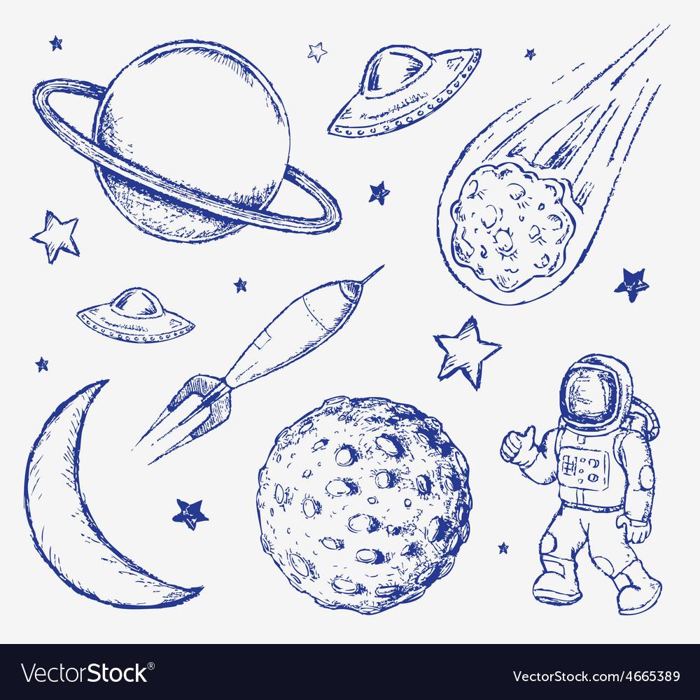 Space doodle set elements vector image