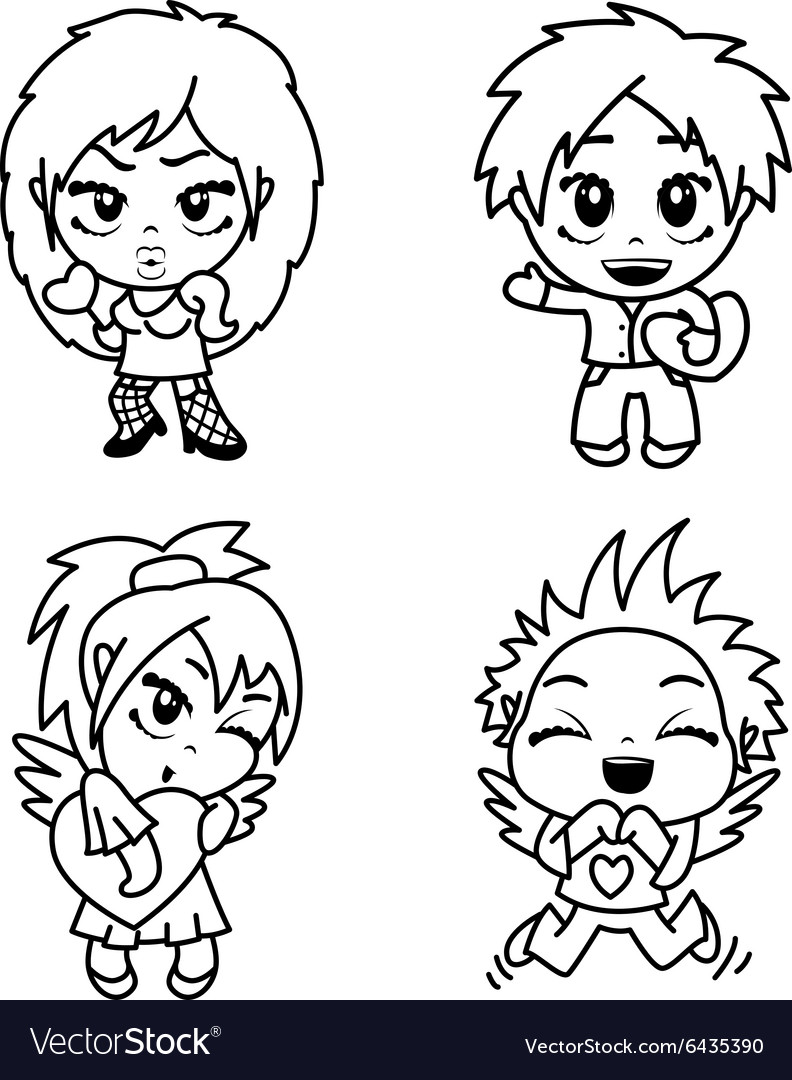 Characters with heart vector image