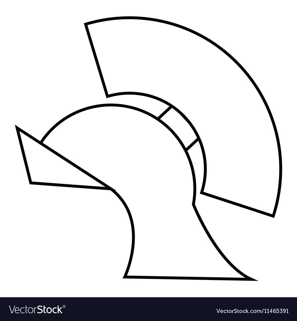 Gladiator helmet icon outline style vector image