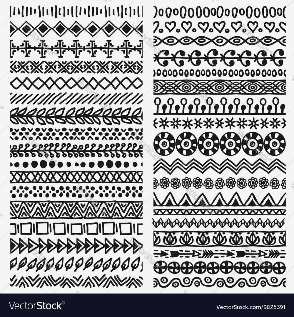 Hand drawn seamless ethnic line border set vector image