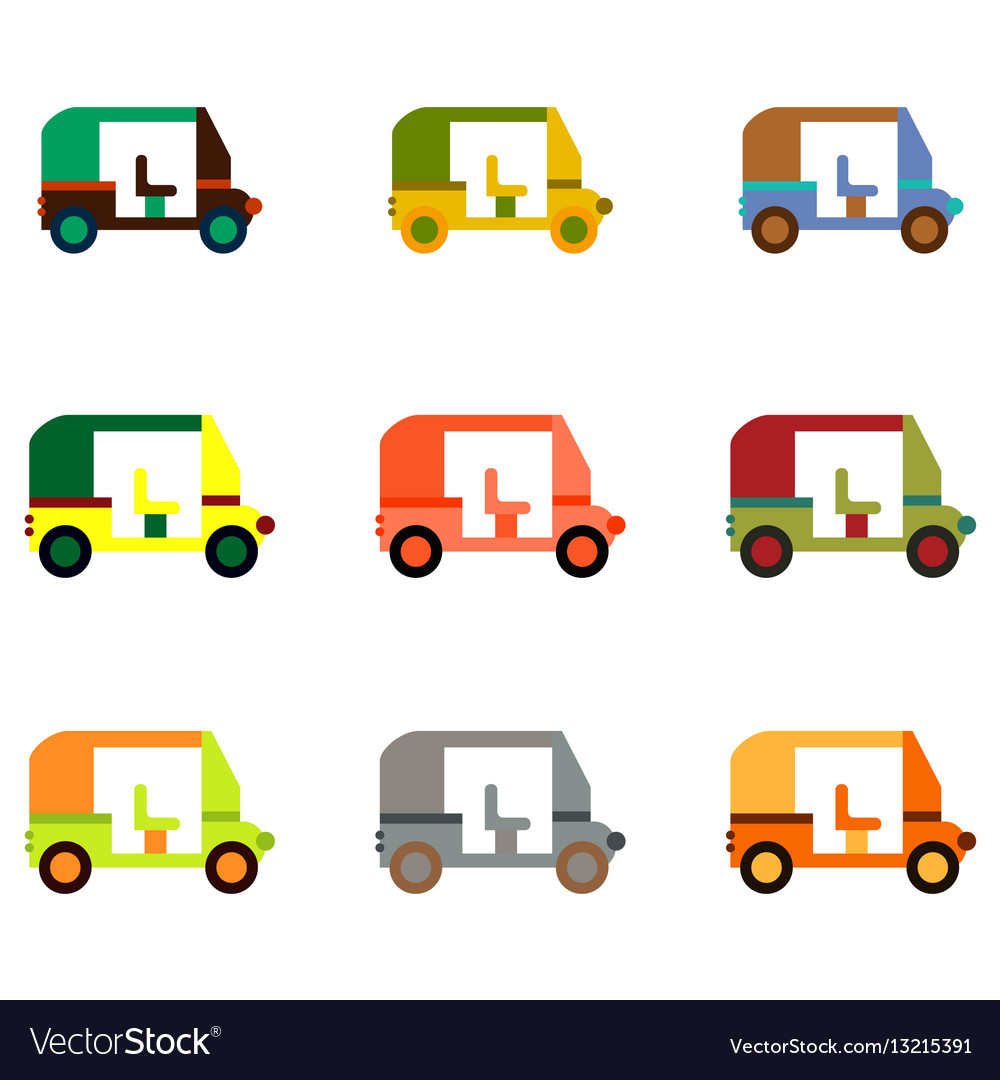 Transportation golf cart flat icons collection