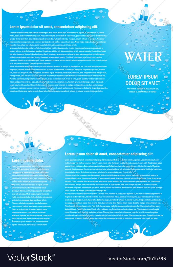 Brochure folder water aqua splash bootle element vector image