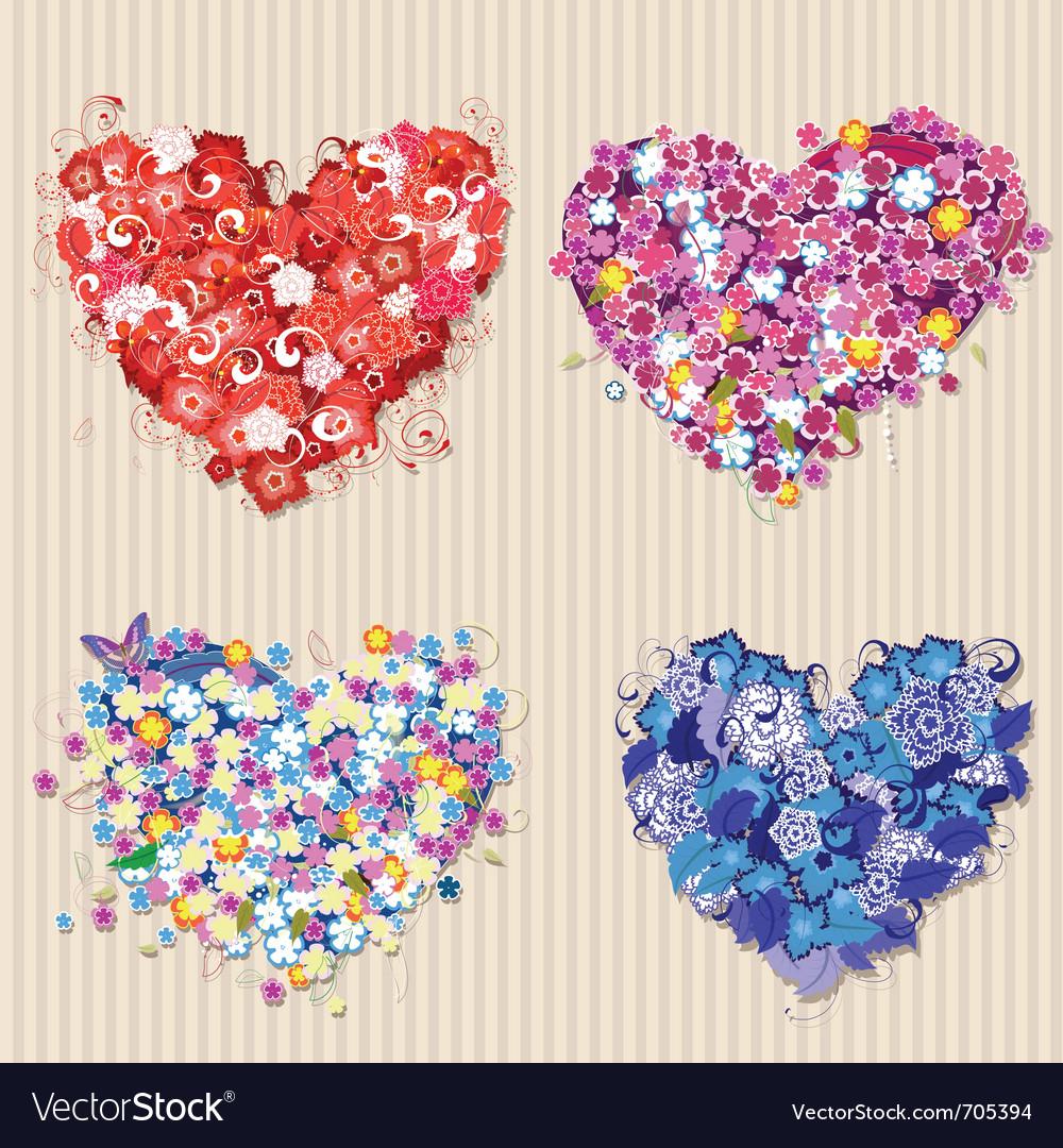 Floral vintage valentines vector image