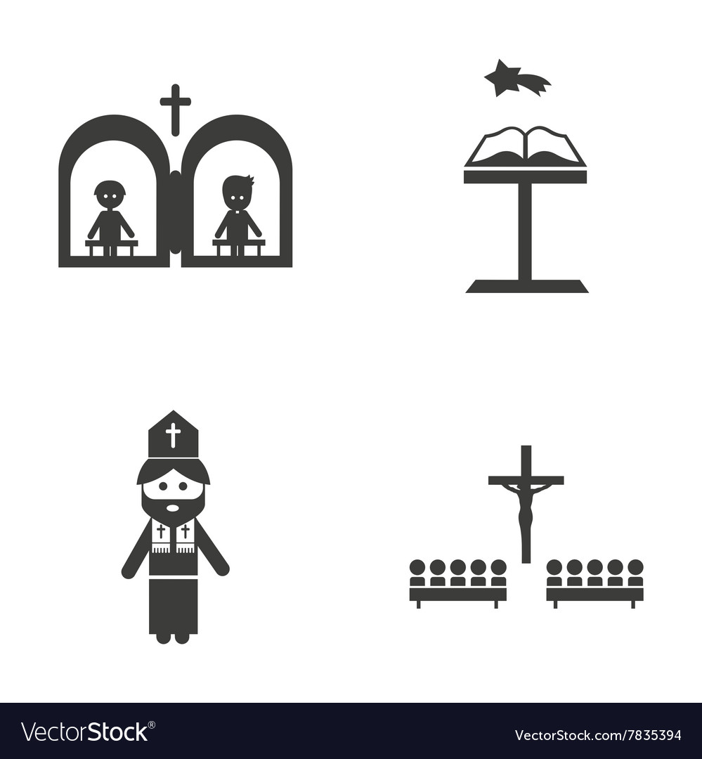 Set of flat icon in black and white style religion